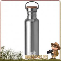 Gourde Randonnée Inox 75 cl Basic Nature sans vernis toxique, robuste  en acier de qualité sans mauvais gouts