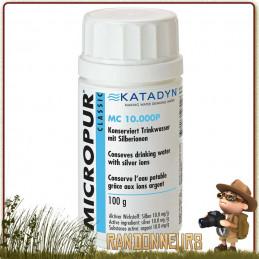 Comprimés MICROPUR Classique MC 10000 P Katadyn à base d'ions argent pour la conservation de l'eau potable