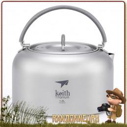 Bouilloire Keith en titane, ultra légère, robuste, bouilloire camping adaptée à la randonnée légère et au bushcraft nature