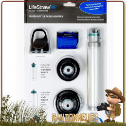 kit de filtration universel pour gourde lifestraw pour filtrer l'eau en randonnée légère et voyage avec charbon actif