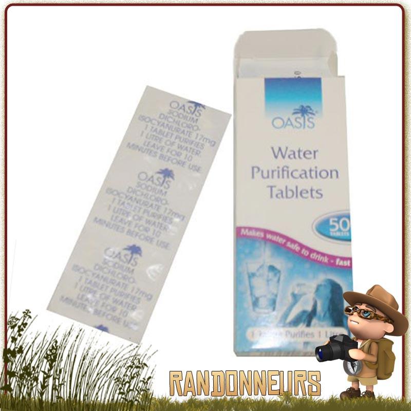 tablettes oasis, traitement de purification de l'eau contre les bactéries, virus et autres organismes de l'eau à base de chlore