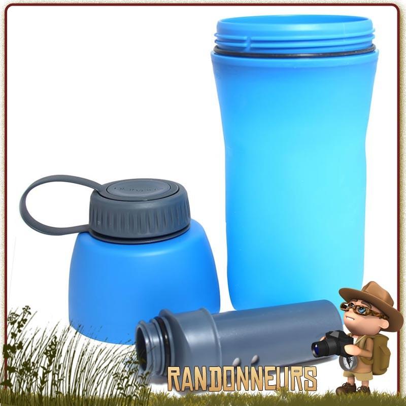 Gourde filtrante de randonnée META Platypus, gourde plastique souple avec filtre fibres creuses platypus
