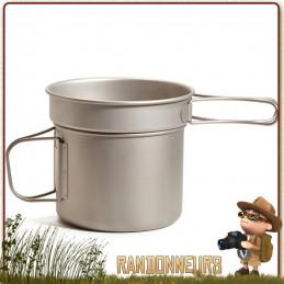 Popote Titane Ti-Boiler Vargo, concept de vaisselle randonnée légère efficace et original pour cuire vos aliments rapidement