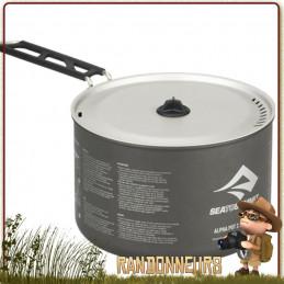 Casserole randonnée légère, Alpha Pot 1.2 litres Sea To Summit  aluminium hard anodisé poignée rabattable, couvercle passoire