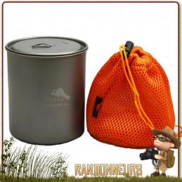 Pot en Titane sans poignées 750 ml TOAKS avec couvercle pour la randonnée ultra light et bivouac léger