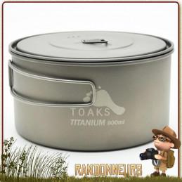 popote Titanium de Toaks 90 cl est un pot en titane ultra léger pour le trek et randonnée minimaliste