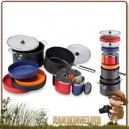 Set popote 4 personnes MSR, la Flex 4 System complète compacte ensemble vaisselle randonnée légère msr