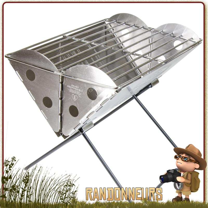 Grill Barbecue Pliant Inox Esbit pour bivouac bushcraft et