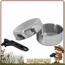 Set Popote Bivouac Inox Biwak Junior RELAGS avec pot inox, poele et pince preneuse de camping
