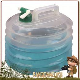 Jerrican Eau Potable plastique accordéon 10 Litres Highlander pour le camping et le stockage transport de l'eau