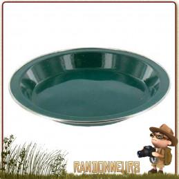 Assiette plate de camping tôle acier émaillée VERTE highlander Vaisselle tôle émaillée campement bivouac bushcraft