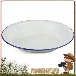 Assiette creuse à soupe de camping tôle émaillée BLANCHE highlander Vaisselle tôle émaillée pour le camping bushcraft