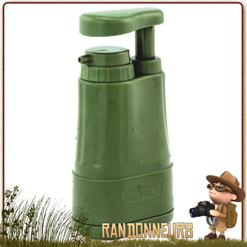 Filtre Miniwell L610 randonnée. Pompe filtrante permettant d'éliminer 99.99% bactéries, virus et protozoaires eaux de rivières